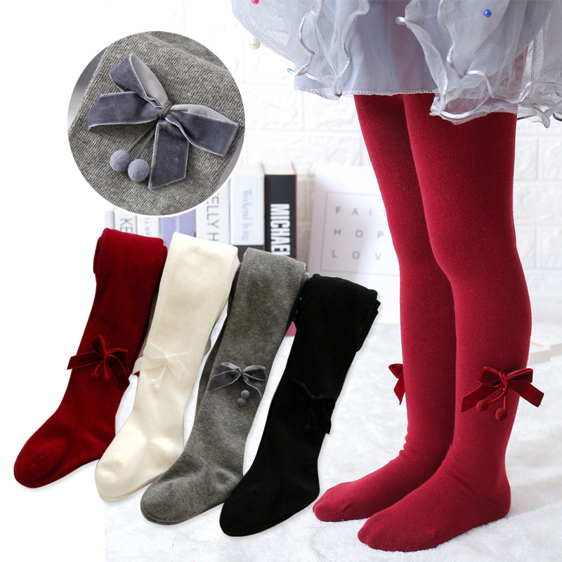 Children Autumn Winter Velvet Bowknot Princess Tights Cotton Baby Girls Pantyhose Kids Infant Knitted Collant Tights Stockings