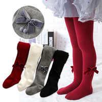 Crianças outono inverno veludo bowknot princesa collants algodão do bebê meninas meia-calça infantil collant de malha meias