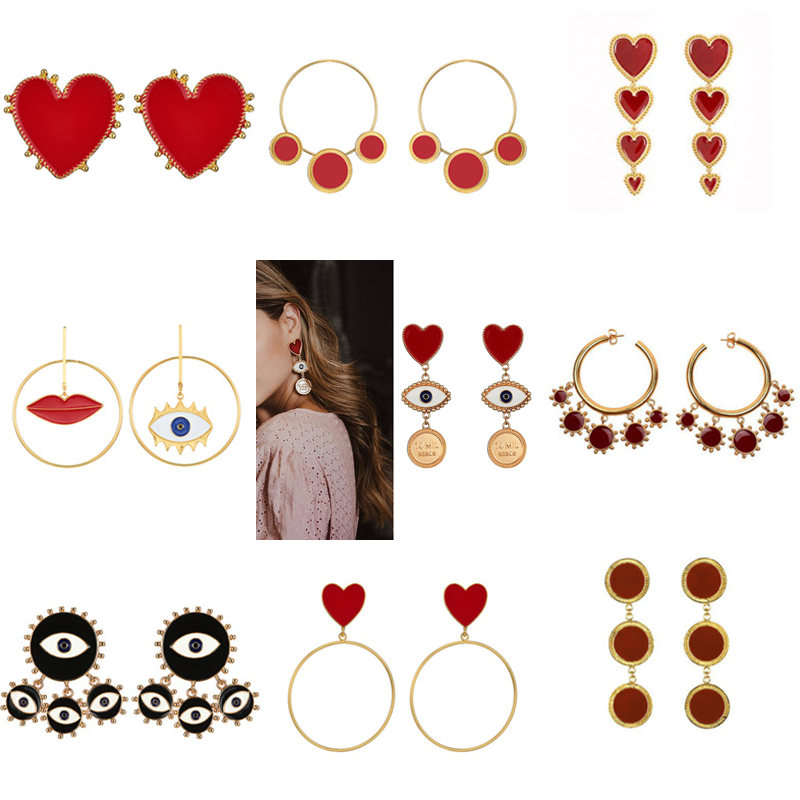 AOMU 2019 New Trandy Red Heart Earrings Asymmetrical Eye Lip Metal Gold Silver Color Dangle Earrings Long Drop Earrings Jewelry image