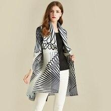LANMREM 화이트 스트 라이프 긴 소매 대형 옷깃 Pleated 여자 카디건 얇은 재킷 캐주얼 단순 패션 2020 가을 코트 새로운 TV586