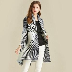 Image 1 - LANMREM White Stripe Long Sleeve Large Lapel Pleated Woman Cardigan Thin Jacket Casual Simple Fashion 2020 autumn Coat New TV586