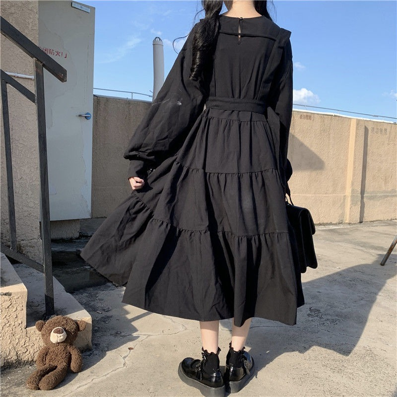 QWEEK Gothic Style Dress Women Harajuku Gothic Lolita Kawaii Dress Punk Cute Long Sleeve Black Midi Dress 2021 Emo Mall Goth 3