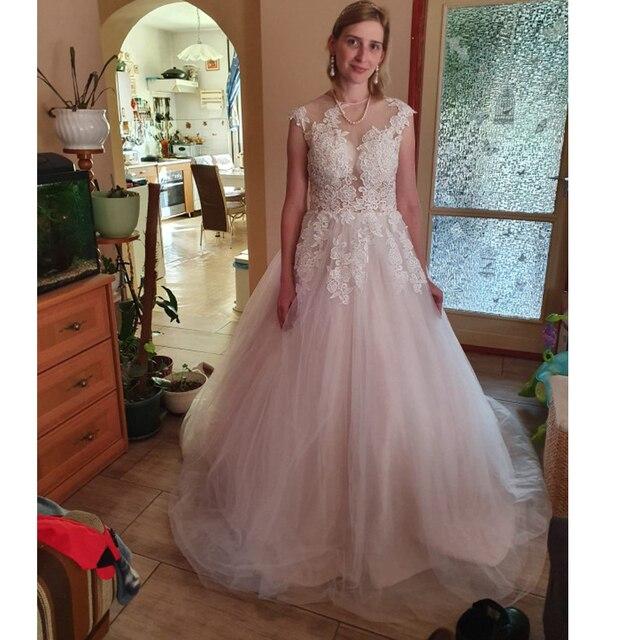 LORIE 2020 Scoop Lace Applique A Line Wedding Dresses Sleeveless Tulle Boho Bridal Gowns Long Train Elegant Princess Dresses 3