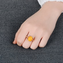 European Oval Yellow Stone Rings For Women Gold Color  Opal Ring Vintage Wedding Jewelry Free Shipping