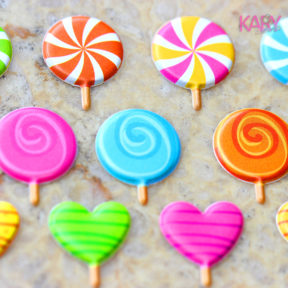 Cute Colorful Lollipop Sweet Candy Lolly Sugar-loaf Bubble Stickers High Quality Scrapbooking Gift Reward Toys For Children 14