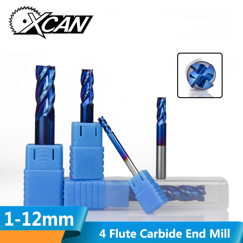 XCAN 1pc 1mm-12mm HRC50 Super Nano Blue Coating Carbide End Mill 4 Flute CNC Milling Cutter Router Bit Spiral End Mills