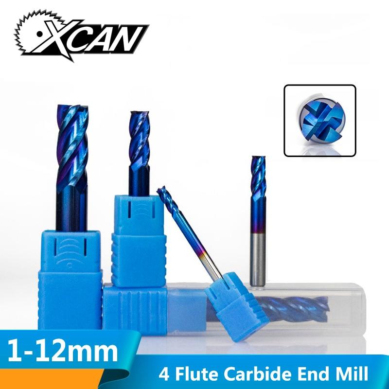 XCAN 1pc 1mm-12mm HRC50 Super Nano Blue Coating Carbide End Mill 4 Flute CNC Milling Cutter Router Bit Spiral End Mills
