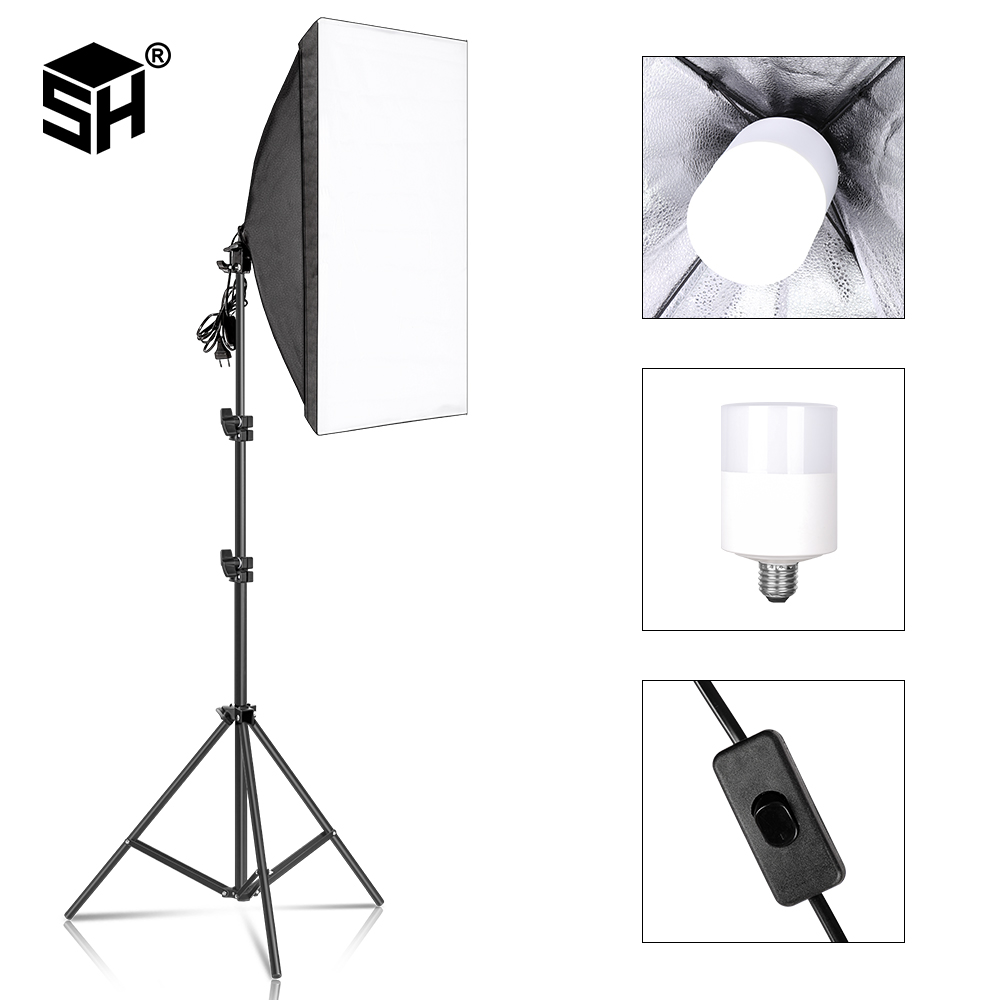 Photography Softbox For Photo Studio Light Box Professional 5070cm E27 Softbox Lighting Kit With 30W LED Bulbs  amp   Tripod