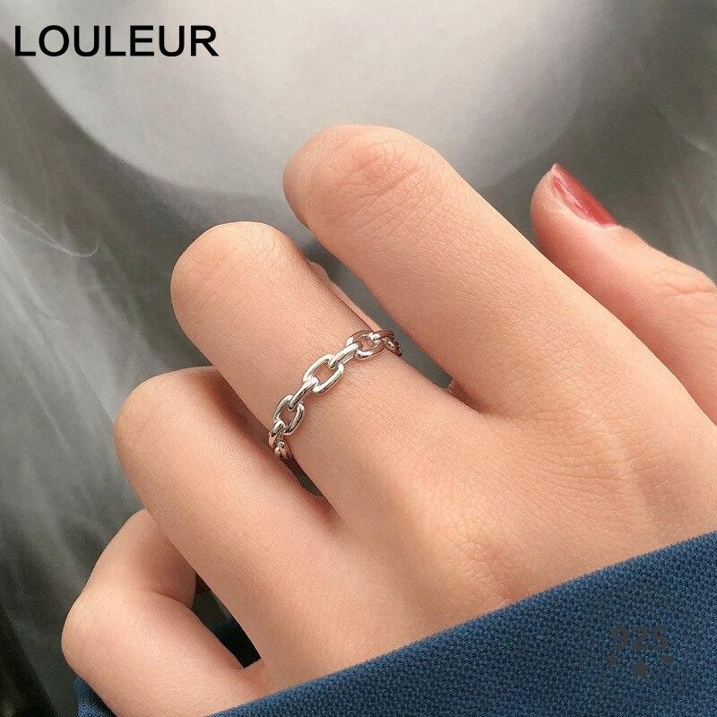 LouLeur Echt 925 Sterling Silber Kette Ring Französisch Stil Minimalistischen Einstellbare Öffnen Ringe für Frauen Mode Luxus Edlen Schmuck