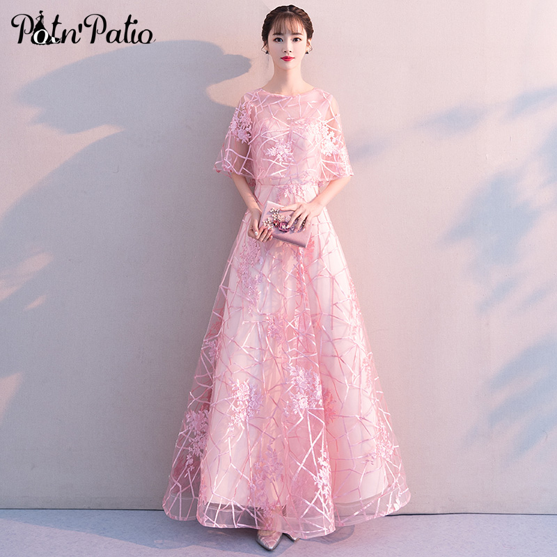 Élégant rose robe femmes 2019 nouveau o-cou a-ligne parole longueur dentelle soirée robes formelles longue avec veste grande taille