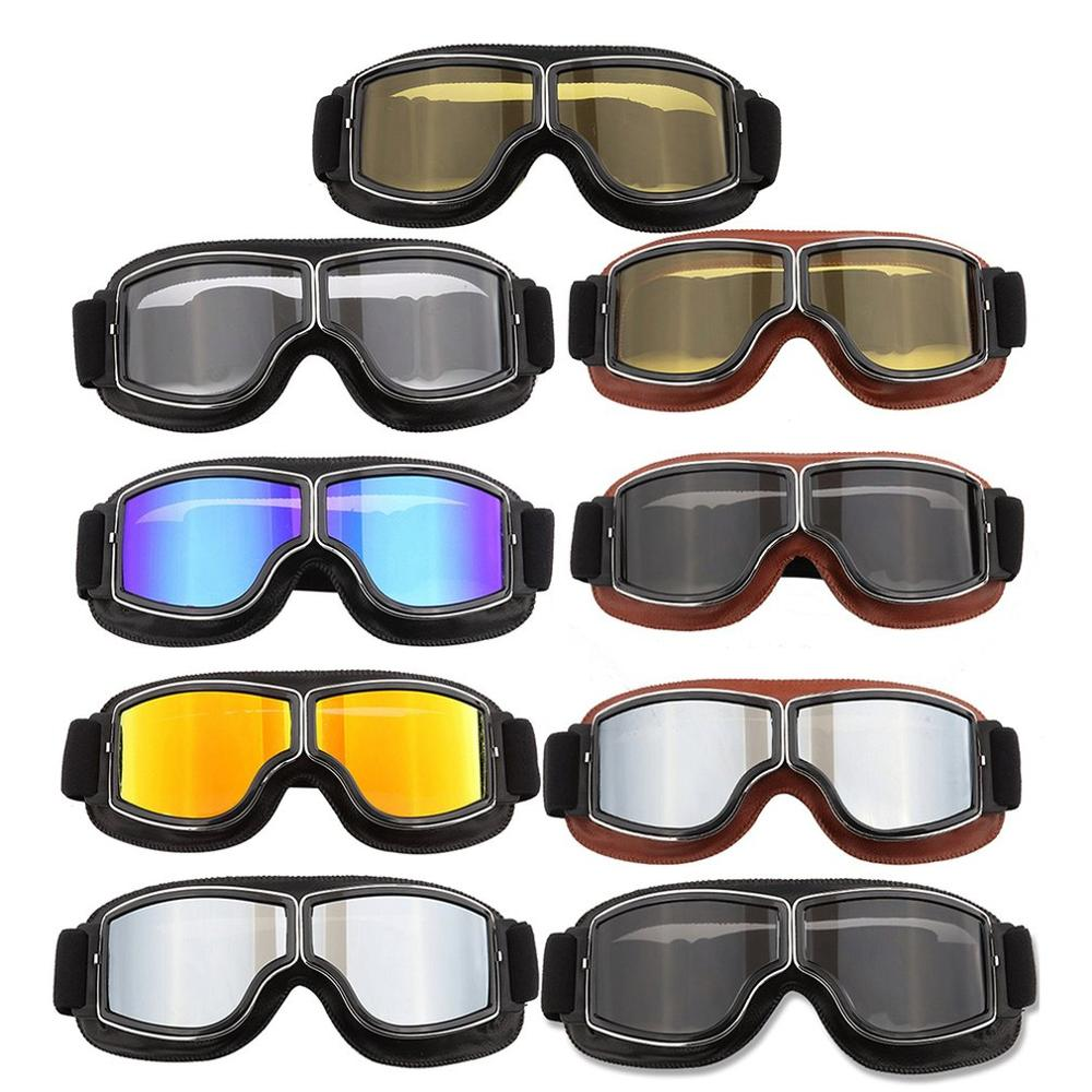 Motorcycle Goggles Off-Road Riding Glasses Retro Leather Glasses Anti-Sand Personality Glasses Anti-Fall