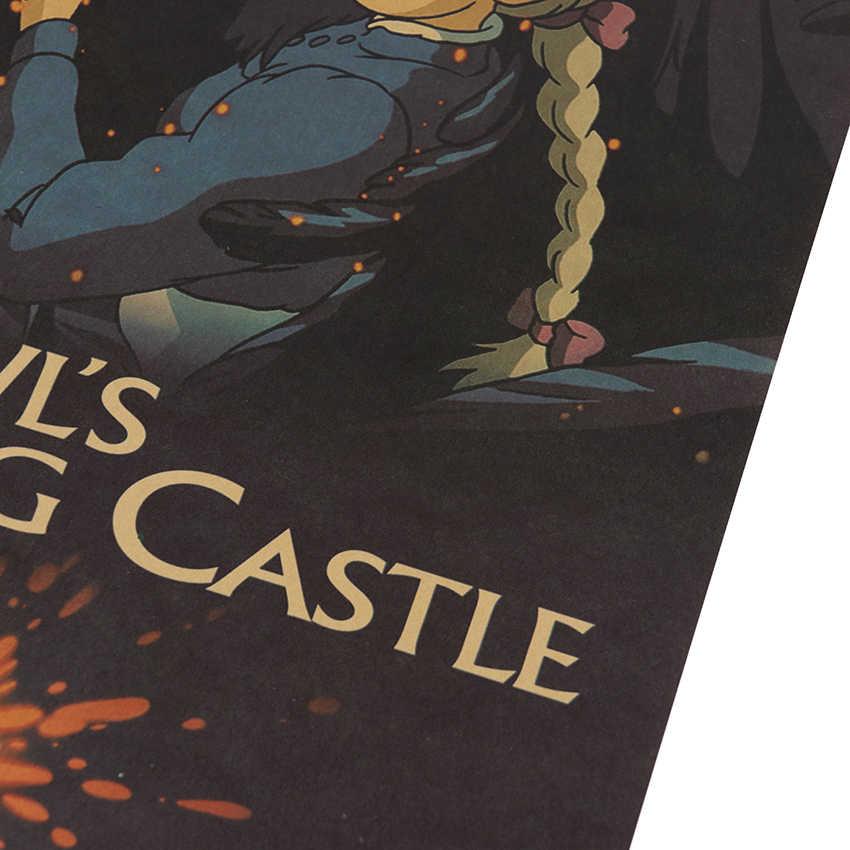 Cravate LER Anime hurlement déménagement château classique nostalgie papier Kraft café barre affiche rétro autocollant mural décoratif peinture 50x35cm