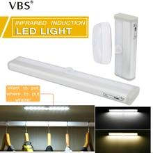 LED Motion Wireless Sensor LED Night Light Flexible Wall Light Lamp for Closet Stairs Bedroom Cabinet Wardrobe  6leds/10leds
