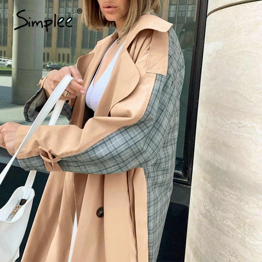 Simplee Cổ Ve Áo Nữ Áo Khoác Dài Đôi Khâu Kẻ Sọc Nữ Rãnh Dài Cao Cấp Phong Cách Đường Phố Nữ Overcoats