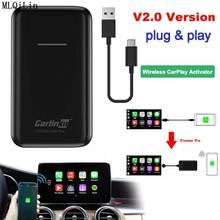 Carlinkit 2 0 aktualizacja USB IOS 13 Apple CarPlay bezprzewodowe automatyczne podłączenie do samochodu OEM oryginalny przewodowy CarPlay do bezprzewodowego Carplay tanie tanio JUSTAUTO CN (pochodzenie) 46*12*80mm Wireless carplay USB2 0 Kable Adaptery i gniazda Wireless carplay dongle Black Carplay wireless