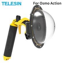 Telesin 6 dome dome dome porta 30m à prova dwaterproof água caso da habitação de mergulho com flutuante punho gatilho para osmo ação câmera lente acessórios