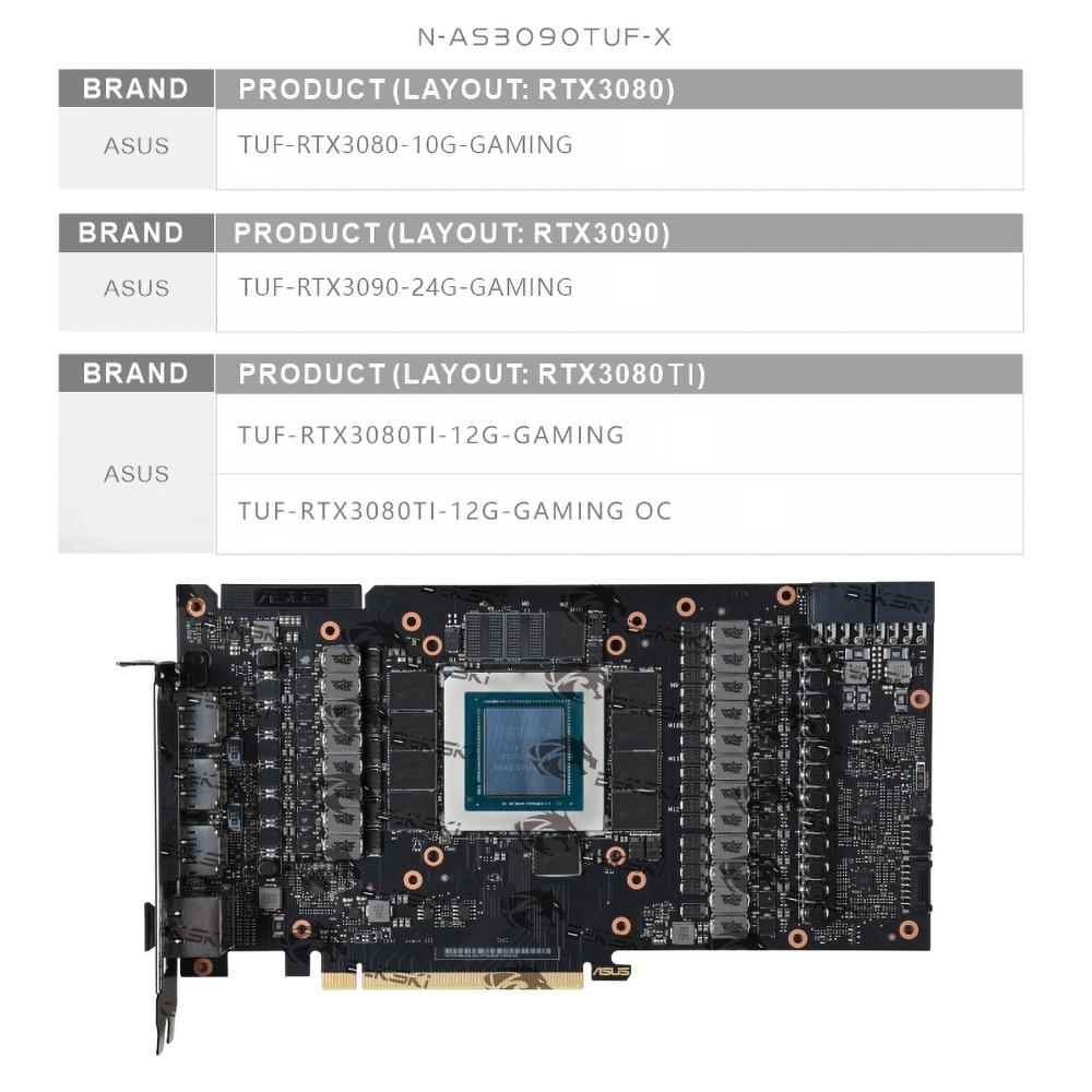 Bykski GPU Block With Active Waterway Backplane Cooler For ASUS TUF RTX 3090 3080Ti 3080 Gaming, Cooling Block N-AS3090TUF-TC