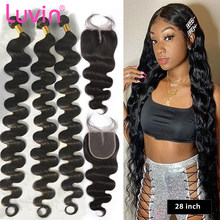Luvin 28 30 40 polegada tecer cabelo brasileiro cabelo humano 3 4 pacotes com fechamento onda do corpo e fechamento do laço tece frete grátis