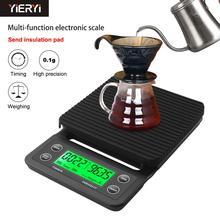3Kg/0.1G 5Kg/0.1G Druppelen Koffie Schaal Met Timer Draagbare Elektronische Digitale Keukenweegschaal hoge Precisie Lcd Elektronische Weegschalen