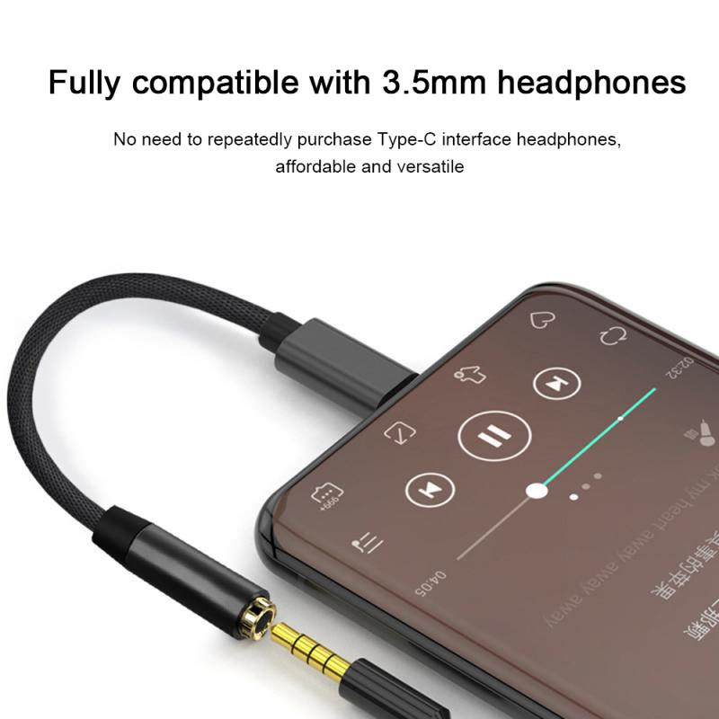 Type C 3.5 Jack Earphone USB C to 3.5mm AUX Headphones Adapter Audio cable For Huawei V30 mate 20 P30 pro Xiaomi Mi 10 9