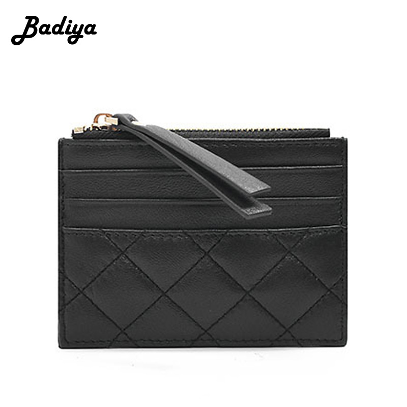 Classic Fashion Leather Wallets Quilted Sheepskin Zipper Purse Multi-card Position Unisex Credit Card Holder Brief Lady Wallet