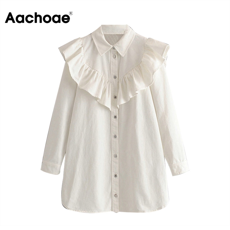 Aachoae Ruffles Mini Dress Women Long Sleeve High Street Jeans White Dress Lady Turn Down Collar Stylish Shirt Dress Female