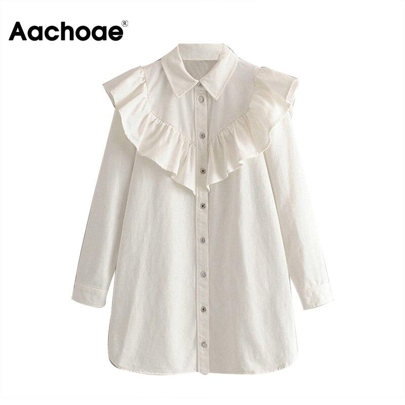 Aachoae Ruffles Mini Dress Women Long Sleeve High Street Jeans White Dress Lady Turn Down Collar Stylish Shirt Dress Female