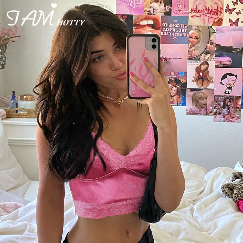 Iamhotty 90s Aesthetic Patchwork Lace Crop Top Women Harajuku Gym Streetwear Aesthetic Clothes Ladies Korean Vintage