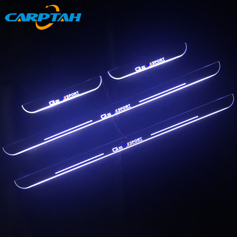 CARPTAH Trim Pedal Car Exterior Parts LED Door Sill Scuff Plate Pathway Dynamic Streamer light For Audi Q5 2010 - 2017 2018