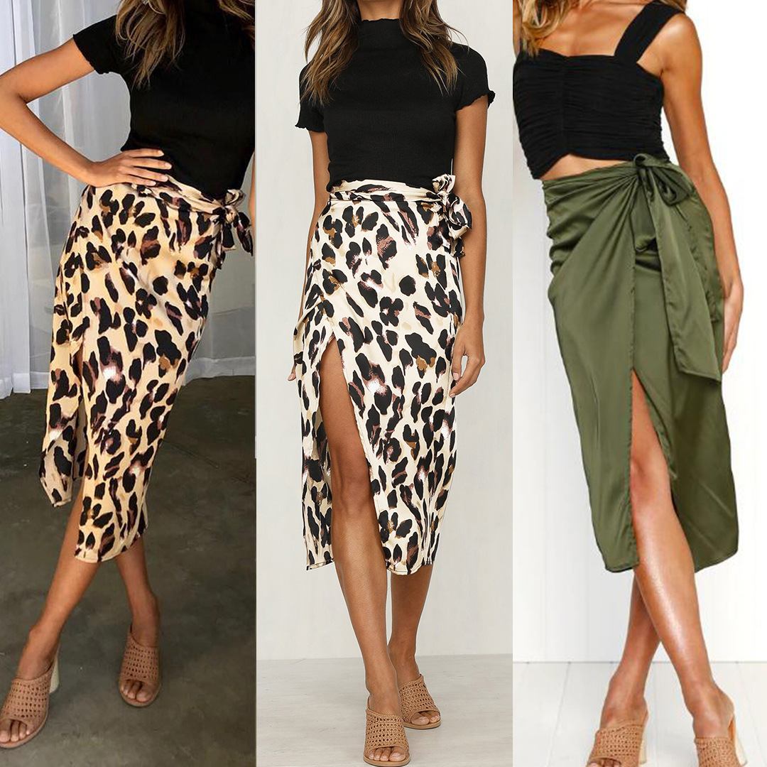 Skirts Women 2020 Fall New Chiffon Leopard Print Maxi Skirt High Waisted Bandage Long Skirts Sexy Split Bandage Skirt Streetwear