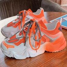 Sneakers Fashion Women Shoes Blue Orange Mesh Casual