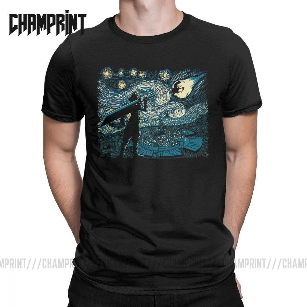 Men Starry Fantasy Van Gogh Final Fantasy T Shirts Portrait Vincent Pop Art Game Cotton Funny Short Sleeve Tees Gift T-Shirts