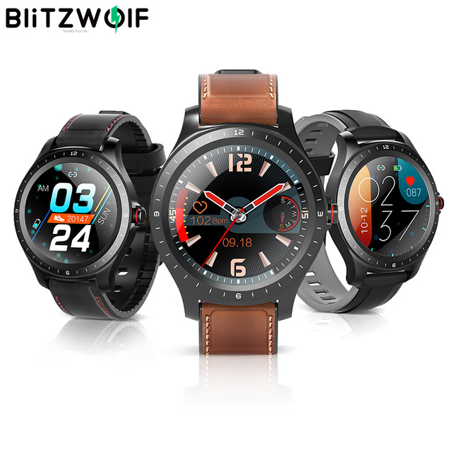 [ bluetooth 5.0 ] BlitzWolf BW HL2 Smart Watch 1.3 Full Round Touch Screen Heart Rate Blood Pressure O2 Monitor IP67 Smartwatch