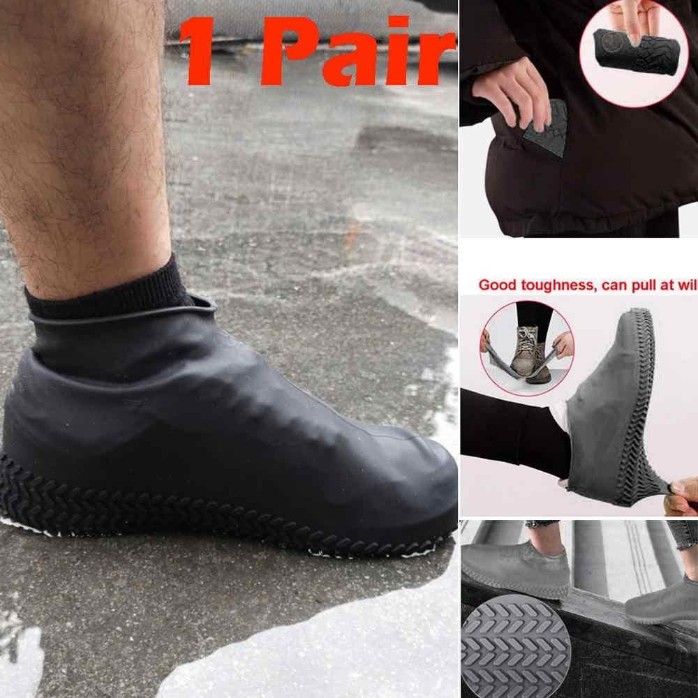 ซิลิโคนกลางแจ้งลื่นรองเท้ากันน้ำแบบพกพารองเท้ากันฝนผู้ชายผู้หญิงวัยรุ่น Anti-sand รองเท้า rain CD