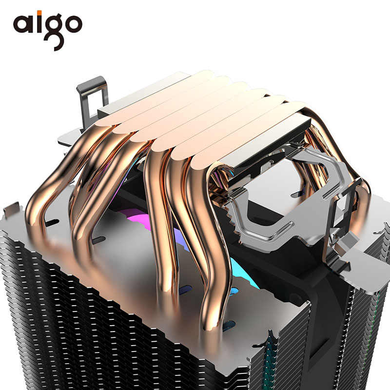 Aigo 6 Heatpipes Cpu Koeler 90 Mm Rgb Fan Pwm 3Pin Sync Computer Koeler Intel Lga 1150/1151/1155/2011/AM3/AM4 Pc Cpu Koelventilator