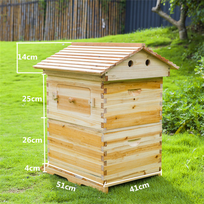 Christmas Gift For Father Smart Automatic Wooden Beehive Honey Flowing Bee Hive With 7 PCS Plastic Beehive Frames