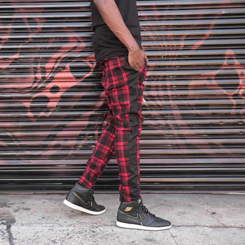 2019 섹시한 높은 wasit 봄 여름 패션 포켓 남성 슬림 맞는 격자 무늬 스트레이트 레그 바지 캐주얼 연필 조깅 바지 인쇄