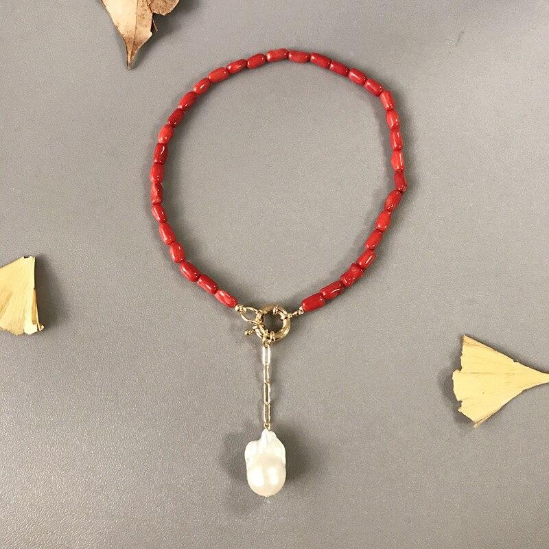 Vermelho com Pingente de Pérola Vintage com Pingente Presente de Aniversário Colar Boêmio Coral Barroco Joia Retrô 2020