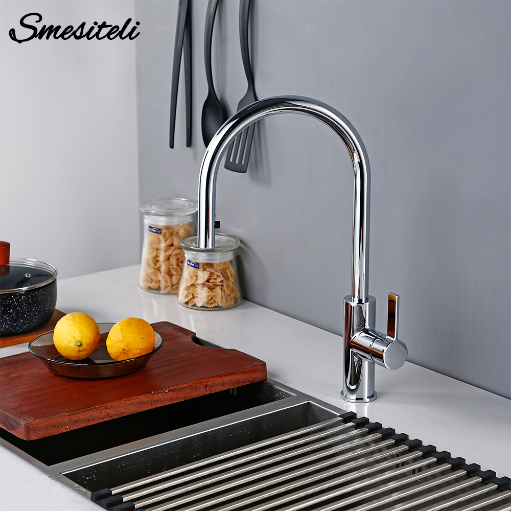 Brass Polished Chrome Single Handle Single Hole Countertop Basin Installation Hot And Cold Water Sprayer Dial Out Kitchen Faucet