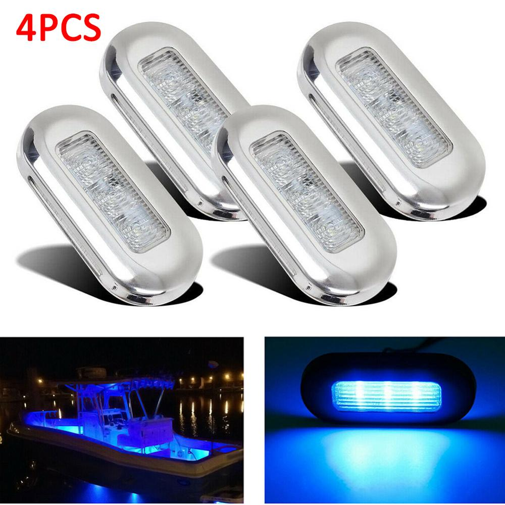 12V Boat Stair Deck 3 LED Side Marker Light Indicator Turn Signal Light Bulbs Taillight For Marine Yacht RV Campers Trailer 4Pcs