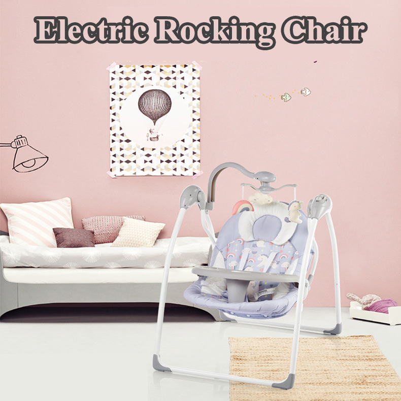 H692a6243bd2048549261aadf37de72820 Babyinner Baby Rocking Chair Baby Bassinet Newborn Electric Cradle Foldable Baby Chair Multifunctional Swing Baby Sleeping Bed