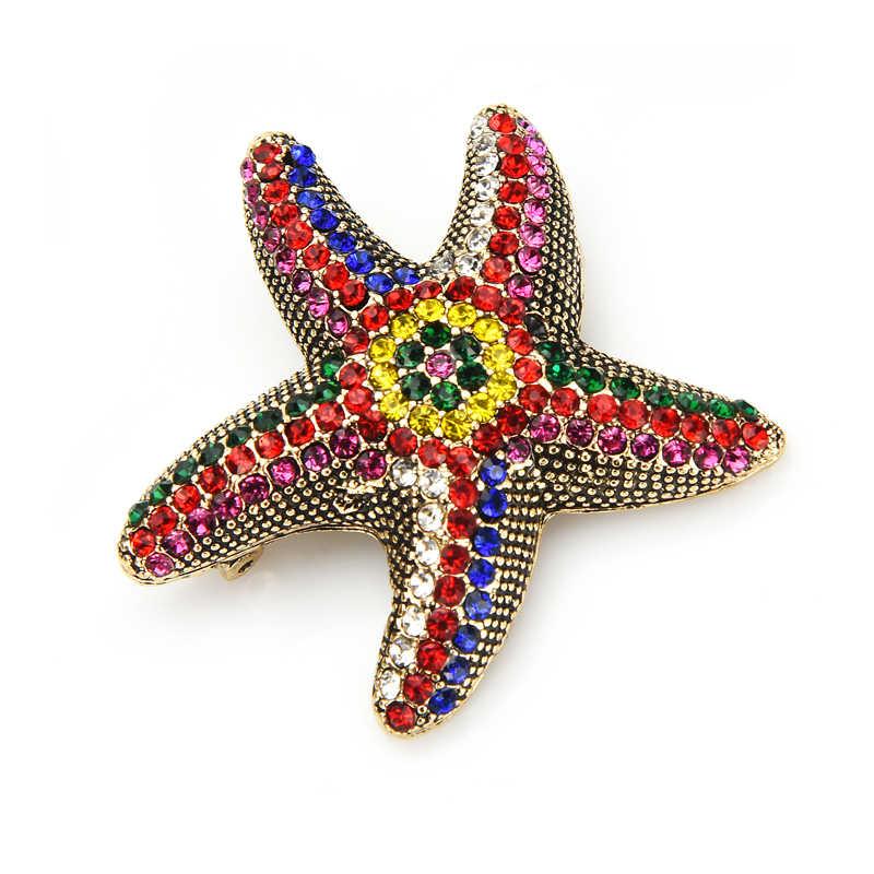 Wuli & del bambino Pieno di Strass Star pesce Spille Per Le Donne Multicolor Mare Star Ufficio Casual Spilla Spilli Regali