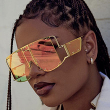 Fashion Square Sunglasses Women New Oversized Mirror Men Sha