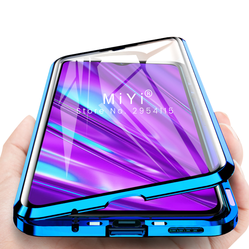 magnetic flip <font><b>case</b></font> realme 5 pro q 360° double-side <font><b>glass</b></font> metal bumper cover for <font><b>oppo</b></font> reno ace a11 a11x a5 <font><b>a3s</b></font> a7 a9 pro f9 coque image