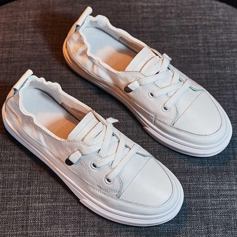 Women Vulcanized Shoes Pu Soft Leather Shoes Lace Up Casual Comfort Vulcanized Shoe Flat Sneakers Female 2019 Fashion Loafers