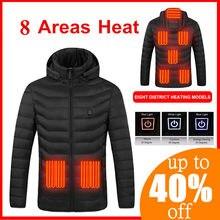 2020 USB 8 aree giacca riscaldata da uomo giacca invernale riscaldata elettrica con cappuccio gilet da caccia all'aperto gilet da trekking dropship