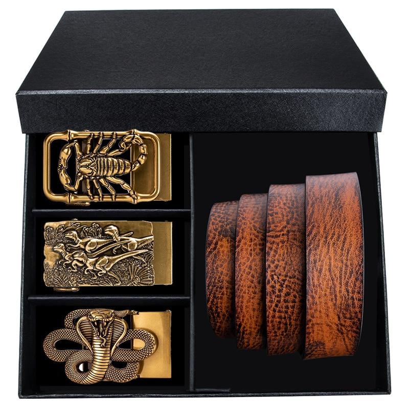 3.5cm Gift Box Brown Leather Belt Gold Buckle Cowskin Genuine Leather Belts For Mens Casual Designer Cowboy Jeans Belt Strap