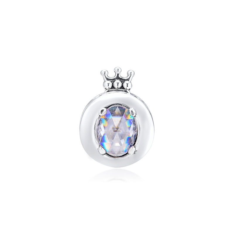 Authentic 925 Silver Jewelry Clear Sparkling Crown O Charm Fits European Charms Bracelets Woman DIY Beads For Jewelry Making