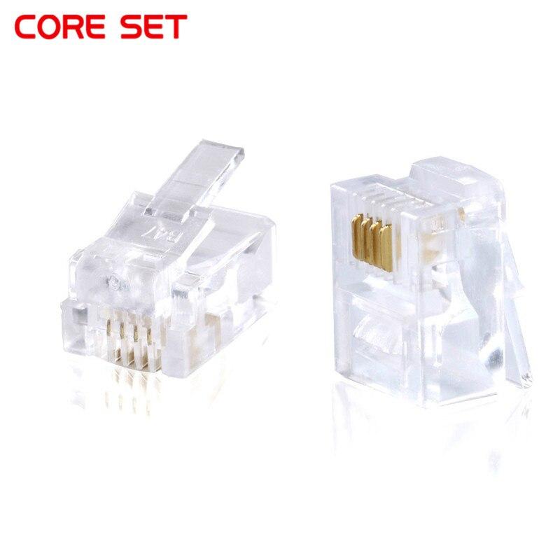 20/10pcs RJ11 6P4C Conector Modular Plug Conector de Rede Cabeça de Cristal Banhados
