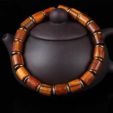 Genuine Natural Nanmu Wooden Beaded Bracelet Men Handmade Tibetan Buddha Hand String Barrel Rosary Prayer Beads Bracelet